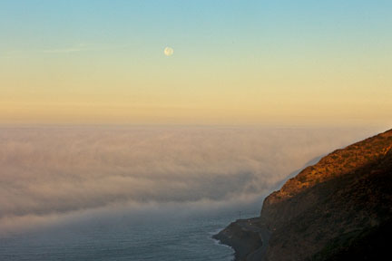 Dawn Moonset and Fog